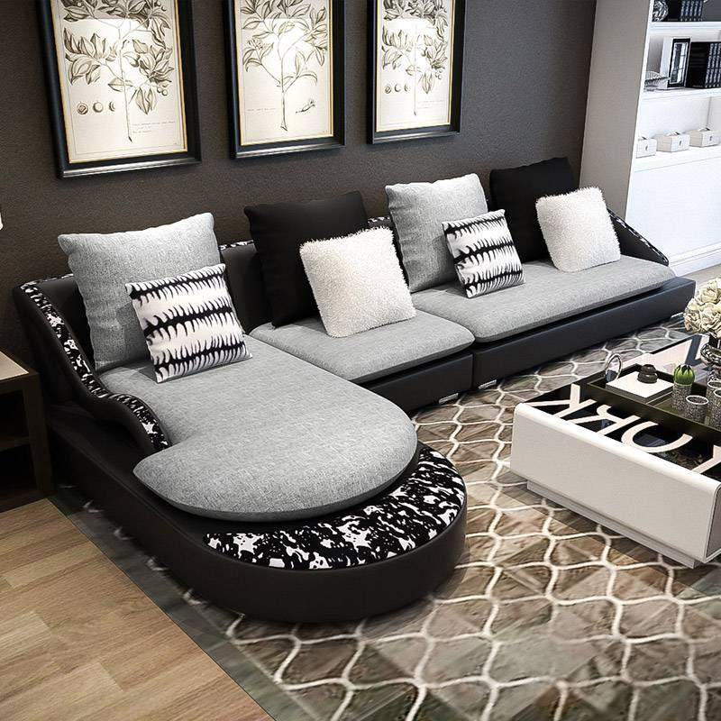 美的艾依美儿个性北欧沙发组合小户型简约现代布艺沙发客厅时尚皮沙发 弧线设计 全底可见 中软坐感 个性时尚