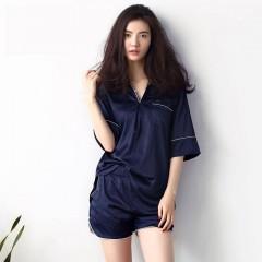 狼爪贝妍夏季薄款女士睡衣性感V领女南韩丝家居服运动可外穿中袖套装