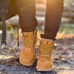 汤臣倍健春季马丁靴男真皮男靴黄靴工装军靴韩版短靴沙漠靴高帮男鞋大黄靴 头层牛皮