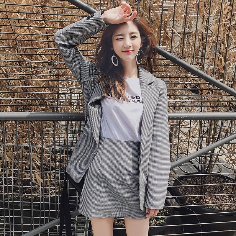 韩都衣舍2018韩版女装秋装千鸟格外套裙子潮两件时尚套装EK8819