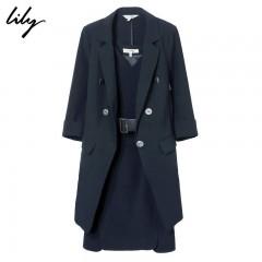 Lily2018秋新款女装V领修身职业套装连衣裙两件套118330C7607